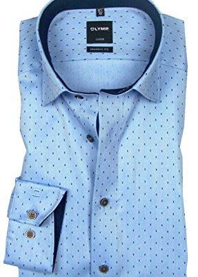 OLYMP Modern Fit overhemd, blauw visgraat dessin (contrast) j style menswear