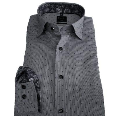 olymp modernfit overhemd grijs dessin j style menswear