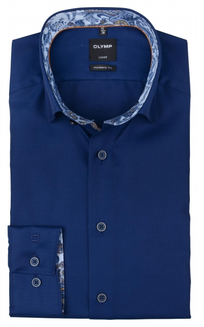 Olymp Luxor Modern Fit Blauw dessin j style menswear