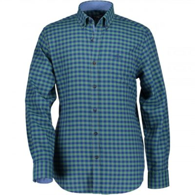 State of Art Geruit overhemd met button down blauw/groen