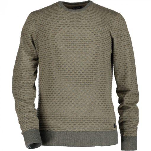 State of Art Jacquard trui met ronde hals grint/middengrijs