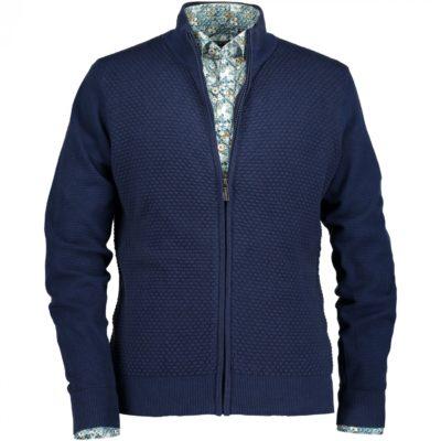 State of Art Vest jacquard met ritssluiting donkerblauw/kobalt