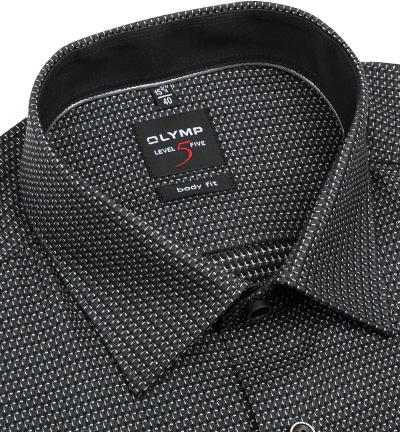 olymp overhemd bodyfit zwart dessin j style menswear