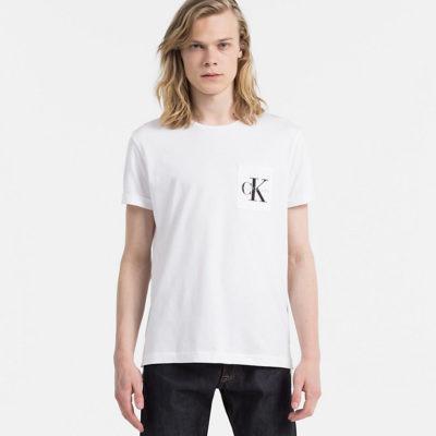 t-shirt calvin klein bright white logo borstzak j style menswear yerseke