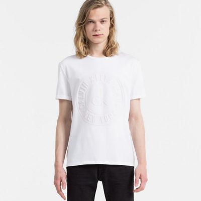 t-shirt calvin klein logo in reliëf voorkant j style menswear yerseke