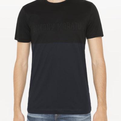 antony morato colour-block zwart blauw logo in reliëf j style menswear yerseke