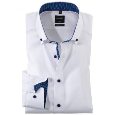 Olymp modernfit overhemd wit met blauwe details j style menswear
