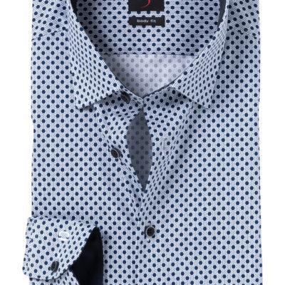 Olymp bodyfit overhemd blue dot j style menswear