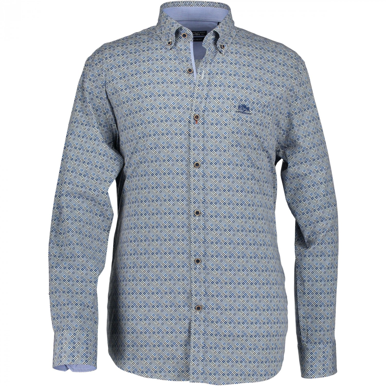 Overhemd Print.State Of Art Print Overhemd Poplin Met Print Grint Kobalt
