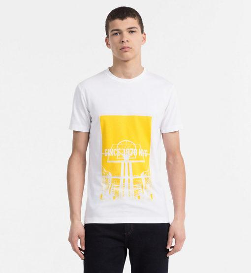 CALVIN KLEIN JEANS T-shirt met print bright white geel