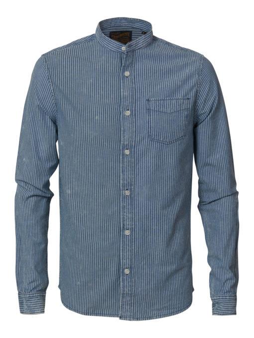 Petrol Industries overhemd zonder kraag gestreept faded-indigo