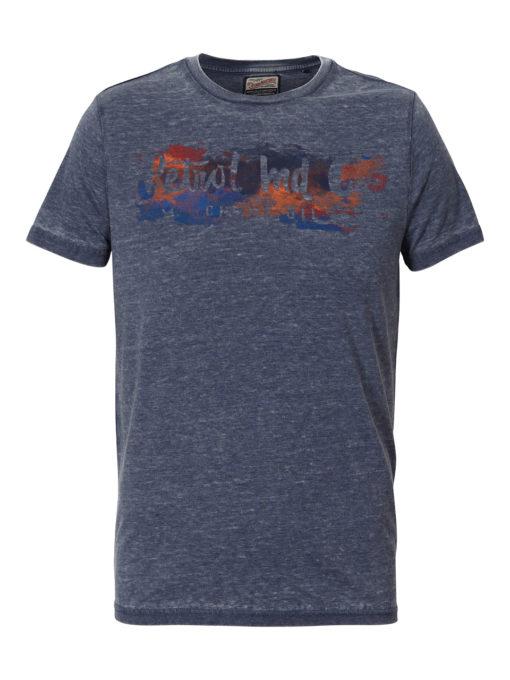 Petrol Industries t-shirt ronde hals waterverf deep capri