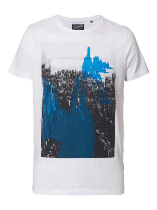 Petrol Industries T-shirt ronde hals illustratie bright white
