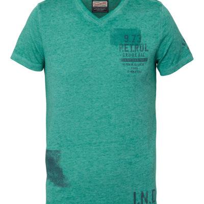 Petrol Industries t-shirt v-hals Mystic Lake gemeleerd