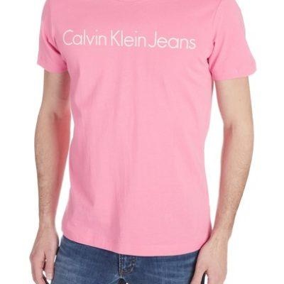 CALVIN KLEIN JEANS T-shirt met logo van biologisch katoen wild orchid