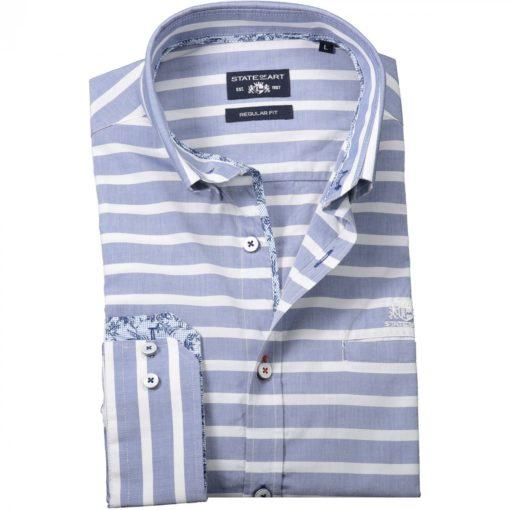 State of Art Overhemd met Yarn Dyed strepen kobalt/wit