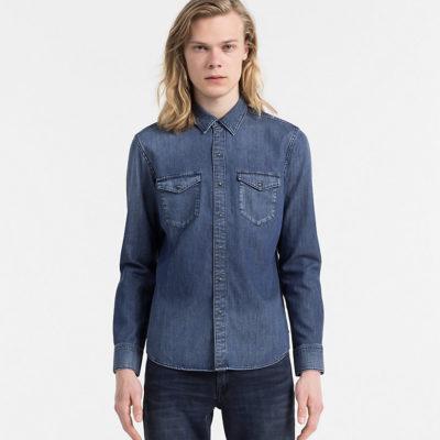 CALVIN KLEIN JEANS Slim denim overhemd slow blue mid