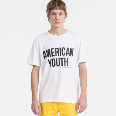 CALVIN KLEIN JEANS T-shirt met print bright white