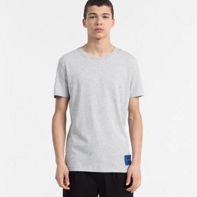 CALVIN KLEIN JEANS T-shirt van biologisch katoen light grey heather