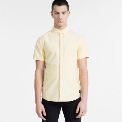 CALVIN KLEIN JEANS Oxford overhemd met korte mouwen spectra yellow