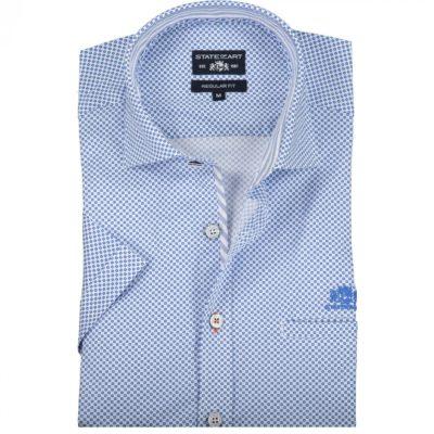State of Art Overhemd with paspelzak kobalt/wit