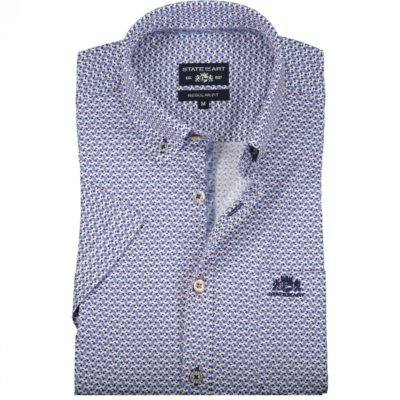 State of Art Overhemd met borstzak roze/kobalt