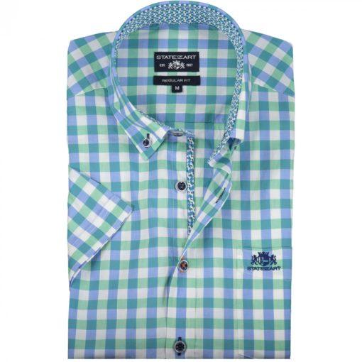 State of Art Katoenen overhemd met ruitpatroon donker lime/middenblauw