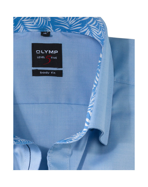 OLYMP Level Five, body fit, Button-Under, Ijsblauw