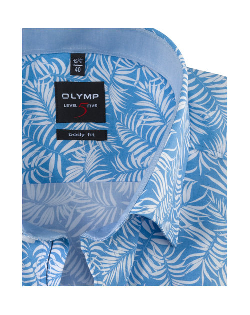 OLYMP Level Five, body fit, Button-Under, Blauw