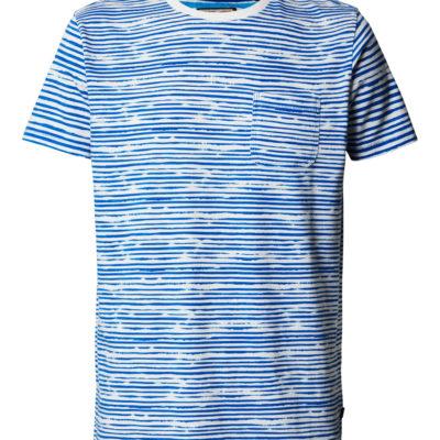 Petrol Industries t-shirt ronde hals fijn gestreept deep sea