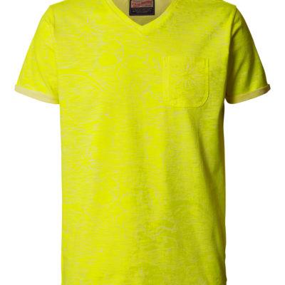 Petrol Industries t-shirt retro printsafety yellow