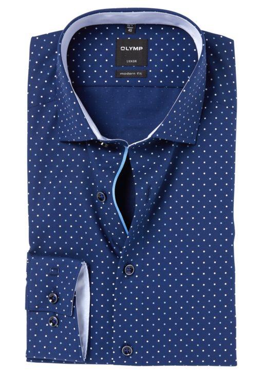 OLYMP Modern Fit overhemd, blauw gestipt (contrast)