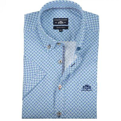 State of Art Overhemd met borstzak lichtgroen/kobalt