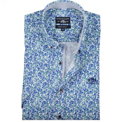 State of Art Overhemd met medium Button Down donker lime/kobalt