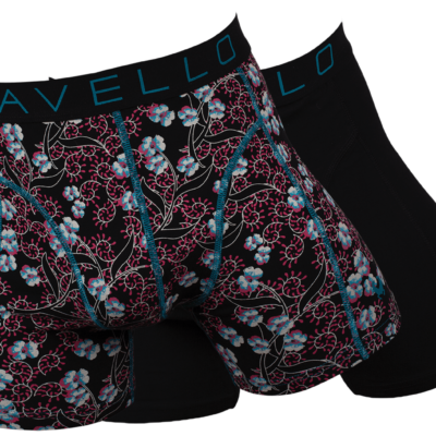 Cavello Boxershort 2-pack CB19003 zwart/ rood /petrol print