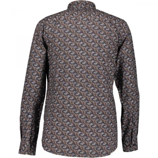 State of Art Poplin overhemd met grafische print cognac/donkerantracit