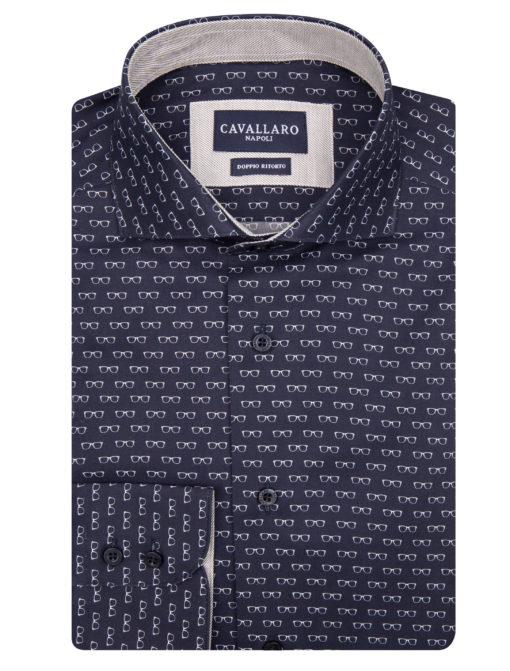 Cavallaro Napoli Edoardo Shirt Donkerblauw