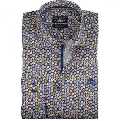 Overhemd met lange mouw. Regular Fit en licht getailleerde Poplin met print. Medium Cut Away zonder borstzak en geborduurd logo op de borst. In de kleur zwavelgeel/kobalt.