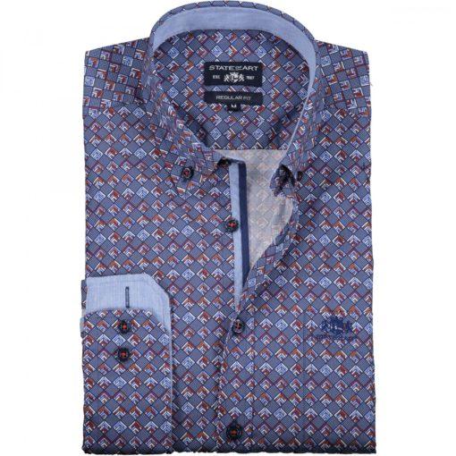 State of Art Overhemd met medium Cut Away rood/kobalt