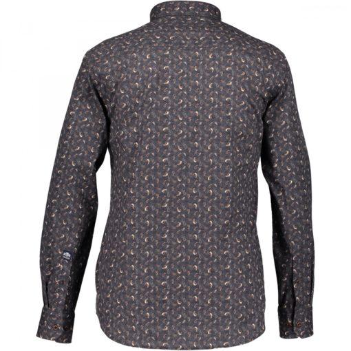 State of Art Overhemd met print van 100% katoen cognac/donkerantracit