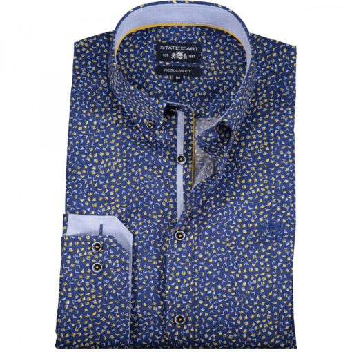 State of Art Overhemd met medium Button Down zwavelgeel/kobalt