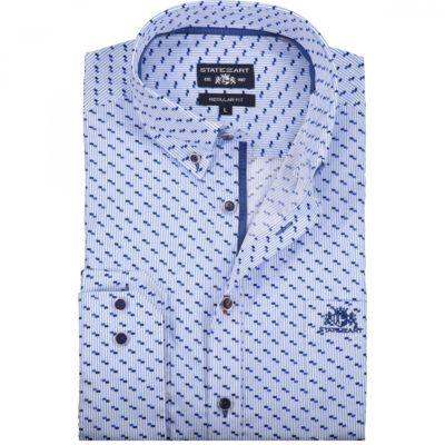 State of Art Overhemd met een fijne blokjesprint kobalt/mintblauw