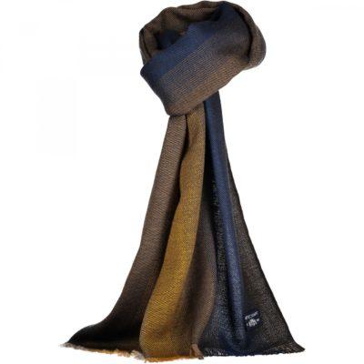 State of Art Sjaal met strepen en fijne franjes zwavelgeel/kobalt