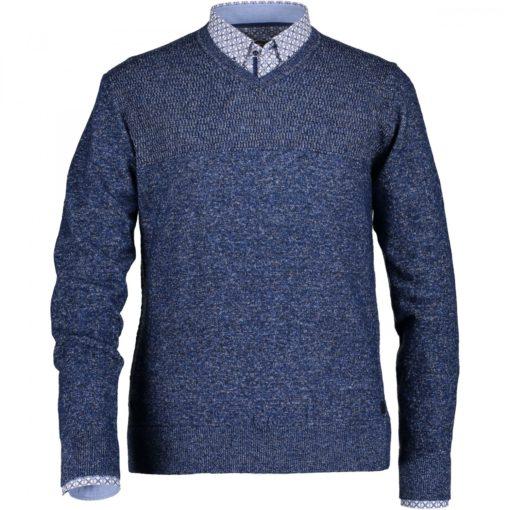 State of Art Structuurgebreide trui met V-hals donkerblauw/kobalt