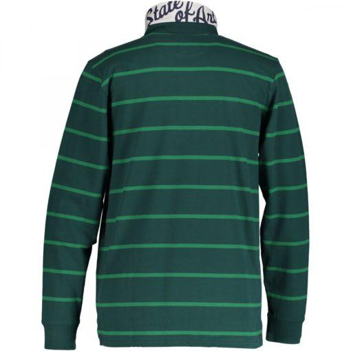 State of Art Rugbyshirt met streepdessin donkerlgroen/grasgroen