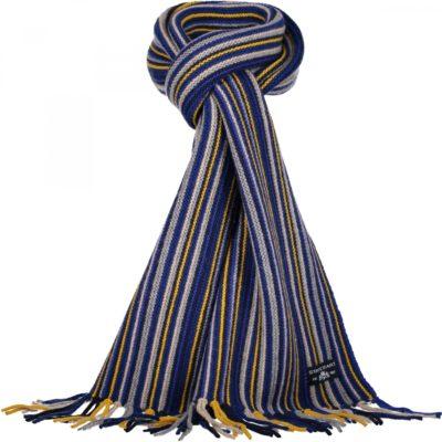 Dikke sjaal met strepen, lange franjes aan de uiteinden en een merklogo. In de kleur zwavelgeel/kobalt
