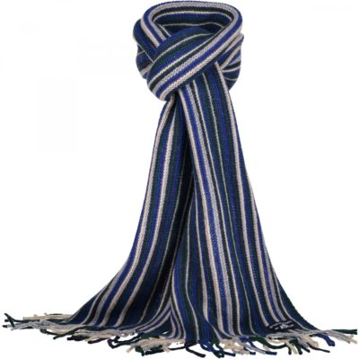 State of Art Gestreepte sjaal donkergroen/donkerblauw