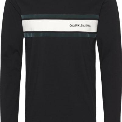 calvin klein shirt long sleeve stripe zwart