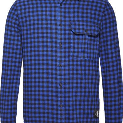 Calvin Klein Shirt Met Gingham Ruit blauw