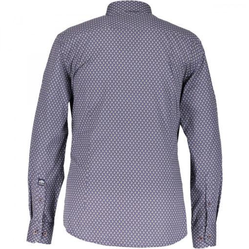 State of Art Overhemd met Print van 100% Katoen blauw/ bruin